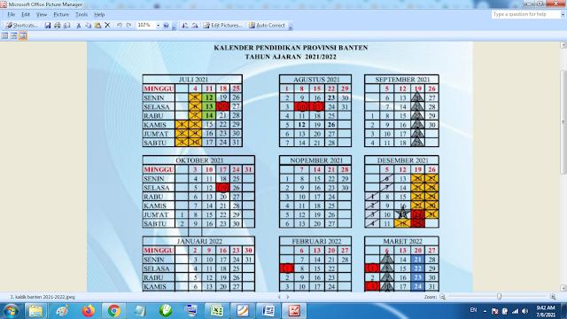 Download Kalender Pendidikan Tahun Pelajaran 2021/2022 Dinas Pendidikan Provinsi Banten