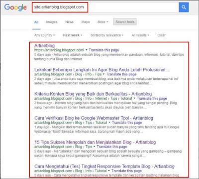 Cara mengetahui apakah Blog atau artikel kita sudah terindeks oleh mesin pencari