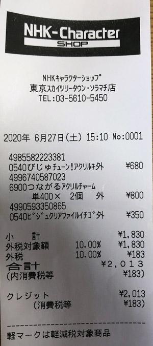 NHKキャラクターショップ 東京ソラマチ店 2020/6/27 のレシート