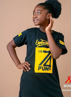 @shirtfreak gets Mercy Johnson's daughter on the run way with its brand. Pix