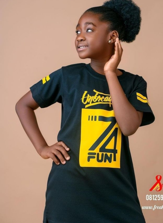 @shirtfreak gets Mercy Johnson's daughter on the run way with its brand. More Pix