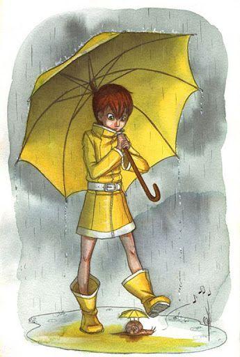 Paraguas y lluvia, dibujos en color
