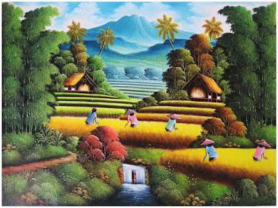 Gambar lukisan pemandangan sawah
