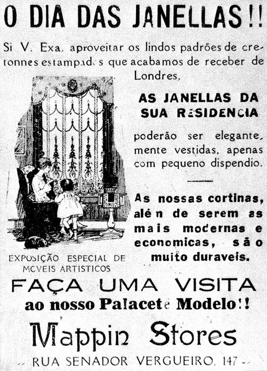 Propaganda de 1910 do Mappin com ofertas de cortinas