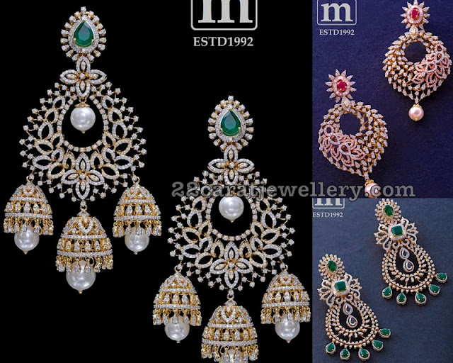 Diamond Chandbali Earrings by Mahalaxmi Jewellers