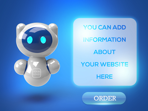 3D Robot with technology banner psd
