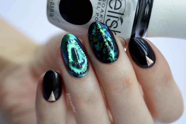 chrome flakes graveyard nail art halloween