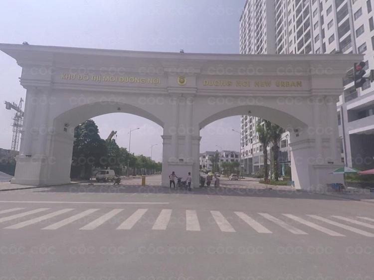 Cổng vào và đường đi tới khu đô thị Dương Nội Hà Đông