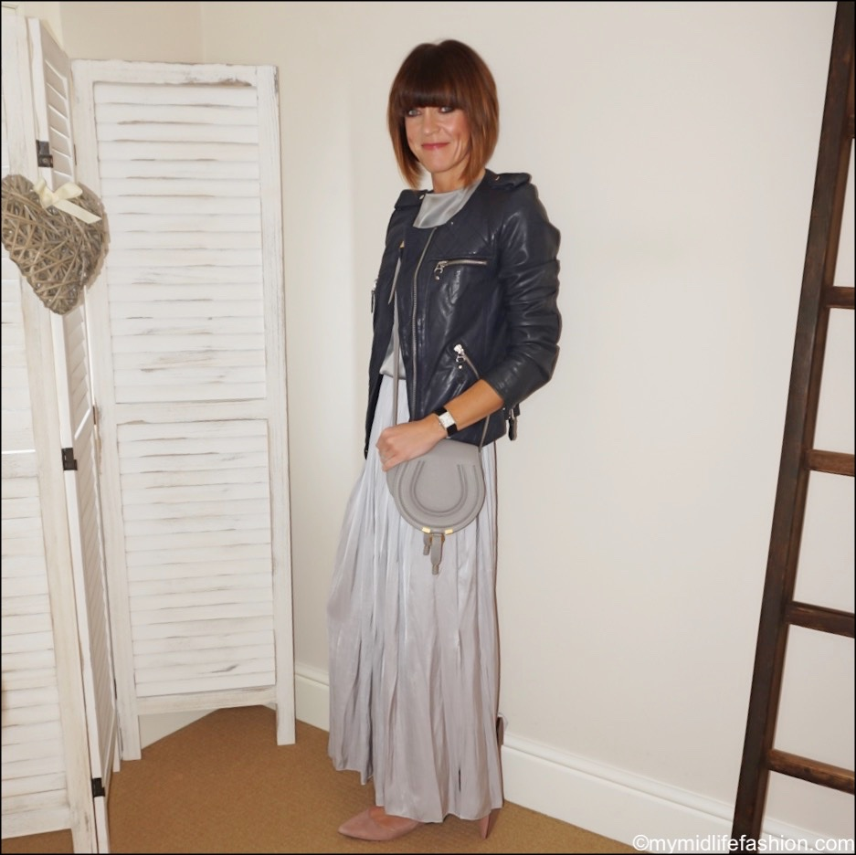 my midlife fashion, Isabel Marant Etoile leather jacket, Chloe marcie small crossbody bag, marks and Spencer silk top, Massimo Dutti maxi pleated wrap skirt, h and m pointed suede ballet pumps