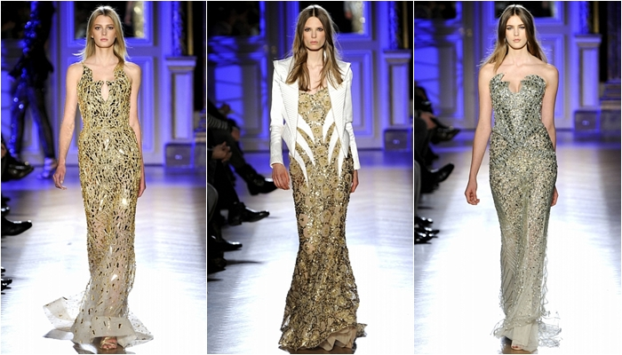 Haute Couture spring 2012 Zuhair Murad gold and silver long dresses