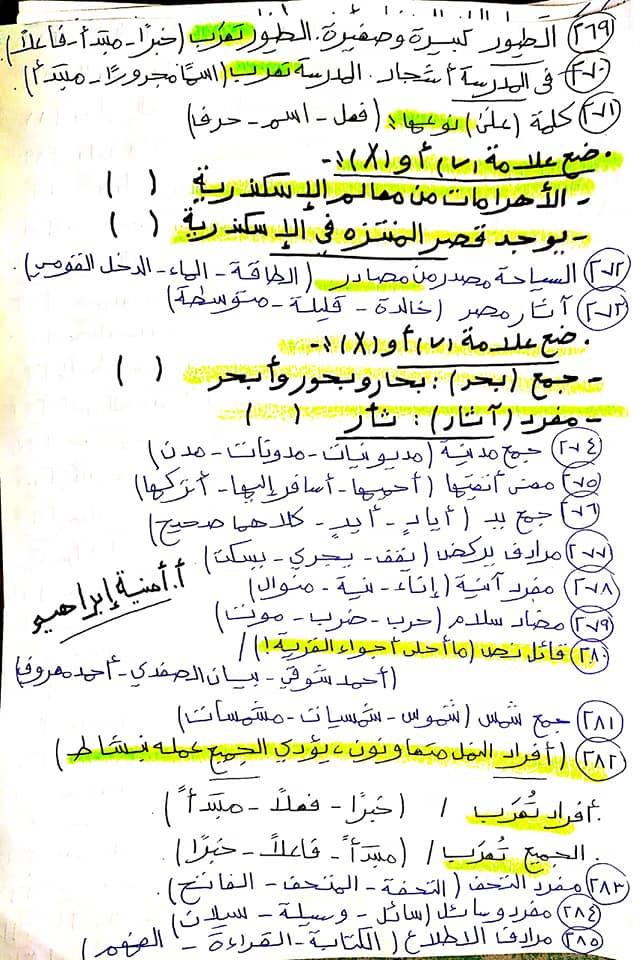 336 سؤال اختيار من متعدد للصف الرابع الابتدائي يشمل كل أجزاء المنهج قراءة ونصوص ونحو ومواطن جمالية 13