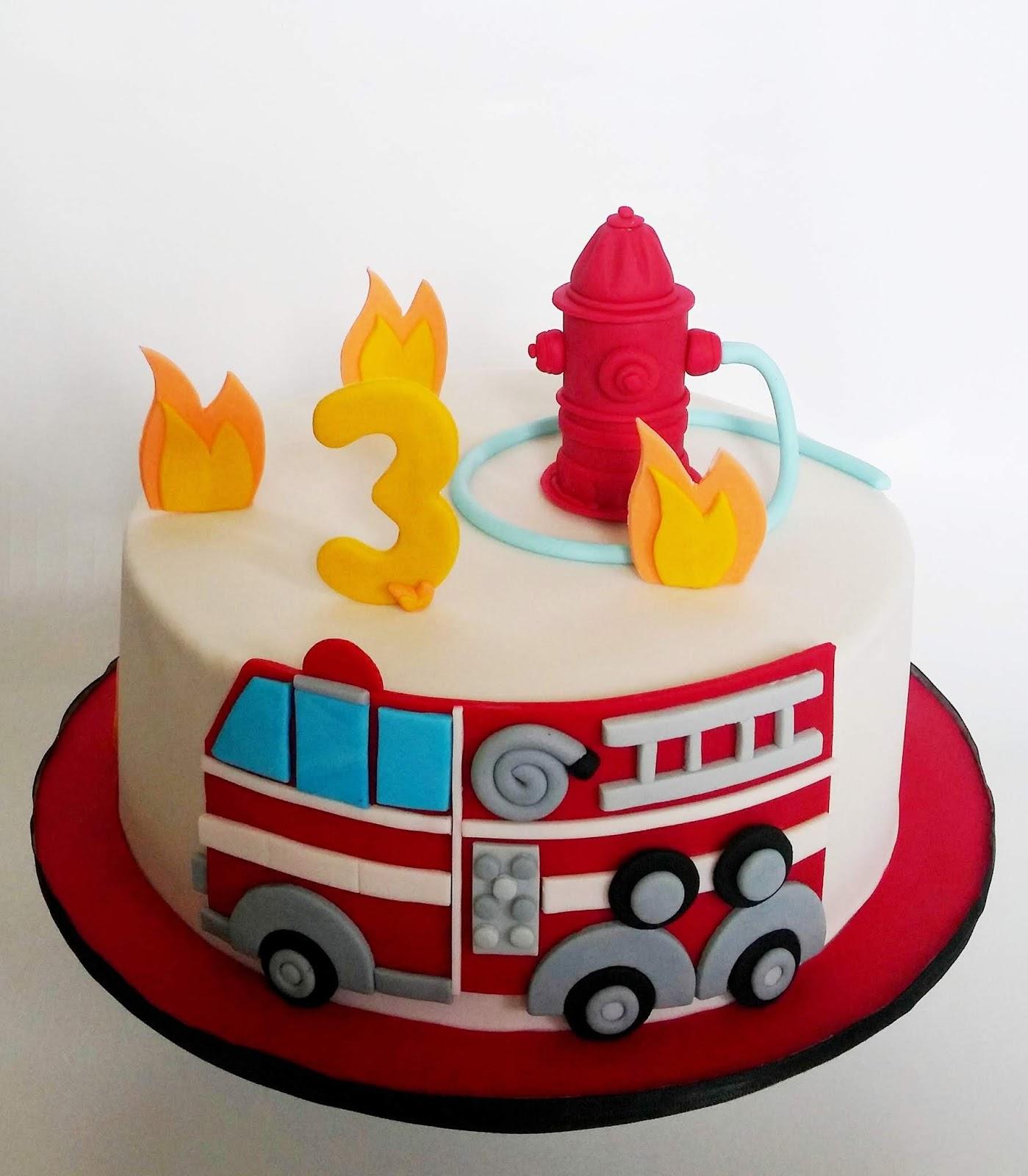 Superb Cakesophia Fire Truck Cake Personalised Birthday Cards Beptaeletsinfo