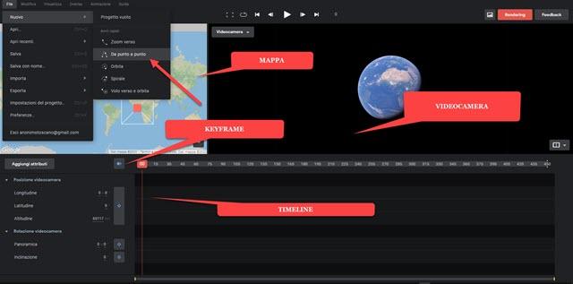 google earth studio interfaccia