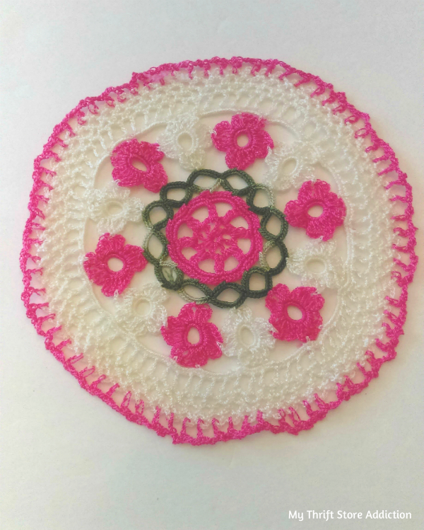 Handmade pink doily