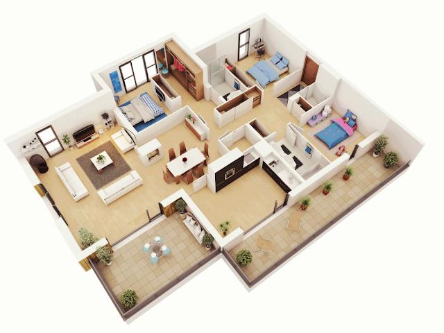 Rumah 1 Lantai 3 Kamar Tidur Untuk Banyak Penghuni