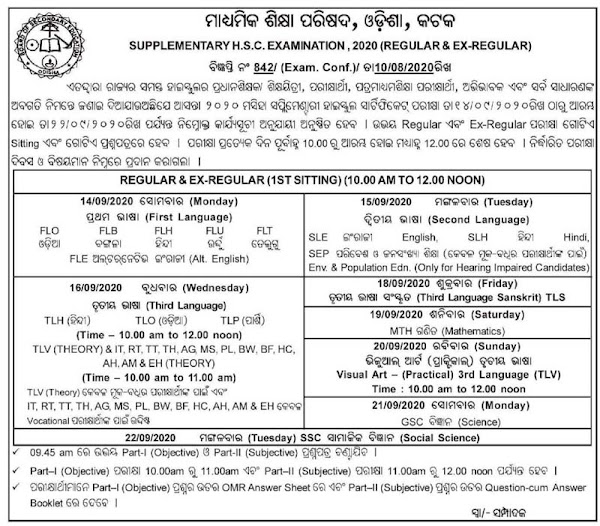 Odisha 10th Supplementary Exam Time Table 2020