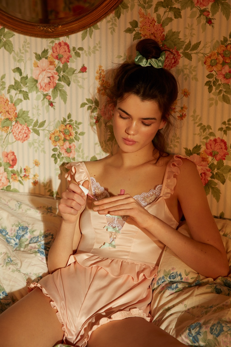 Mabel Heart Embroidery Romper from For Love & Lemons x Victoria's Secret.