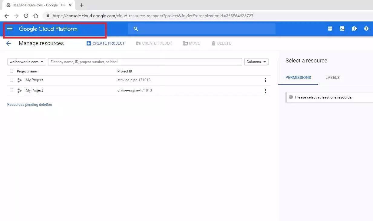 Google Cloud Platform page, showing Create Project button