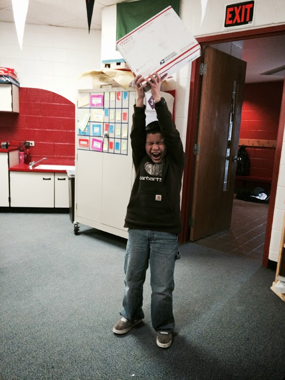 We think Angel was just a little excited about receiving a package from UAA.