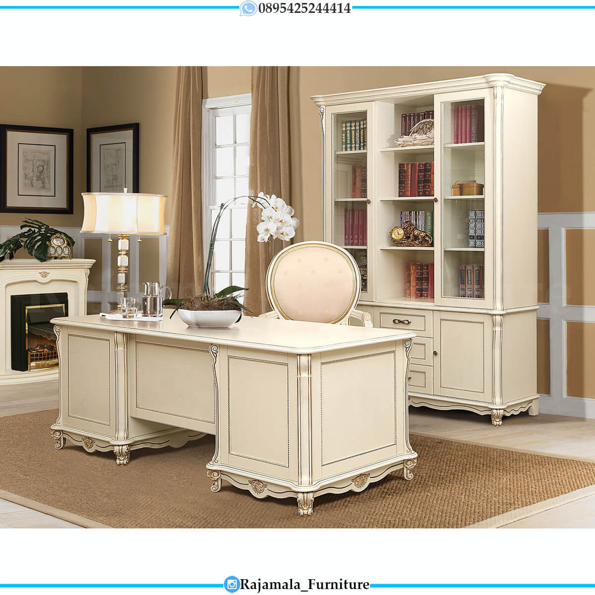 Beauty Meja Kerja Minimalis Putih Luxury Classic Mebel Jepara RM-0579