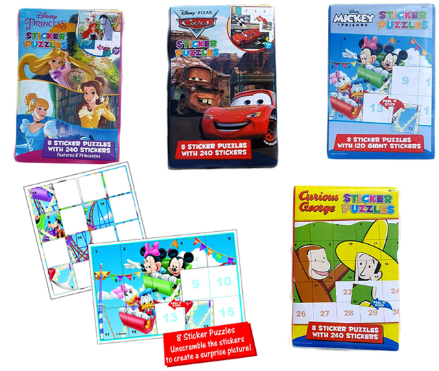 Disney Ultimate Sticker Books and Puzzles with 840 Stickers: Princesses, Mickey n Friends Pixar Cars and Curious George Set image