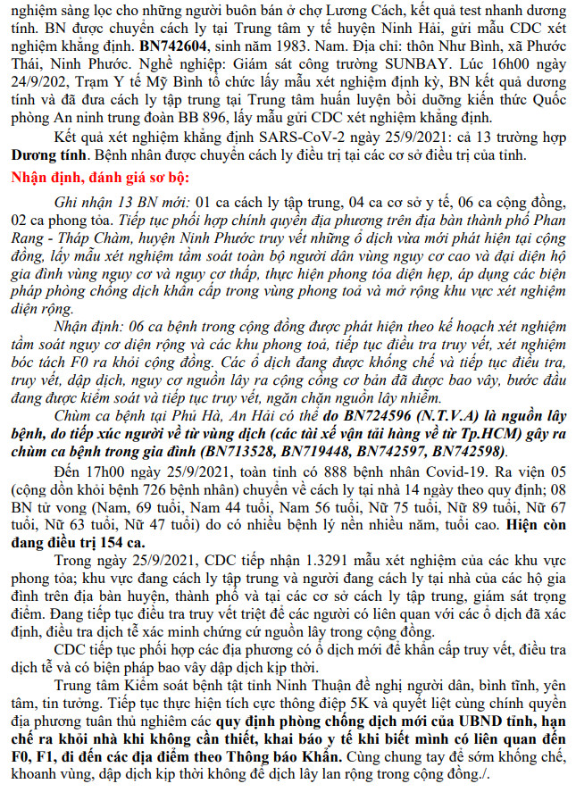 Ngày 25-9 Ninh Thuận ghi nhận 13 ca mắc Covid-19 mới trên địa bàn tỉnh