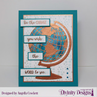 Divinity Designs Stamp Set: Color My World, Custom Dies: Globe & Stand, Log Cabin Quilt, Pierced Rectangles, Mixed Media Stencil: Bubbles