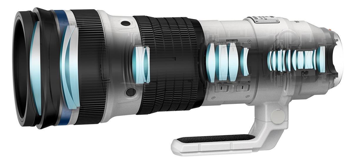 Оптическая схема объектива Olympus M.Zuiko Digital ED 150-400mm f/4.5 TC1.25x IS Pro