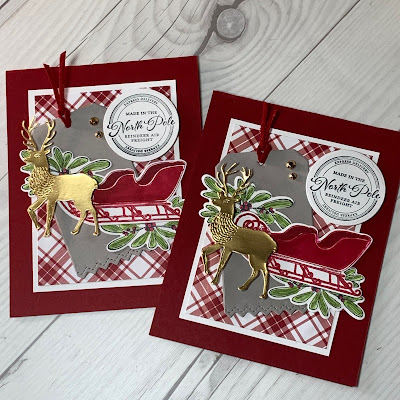 Cherry Cobbler Deer Christmas Card with sleigh using Wishes & Wonder Bundle