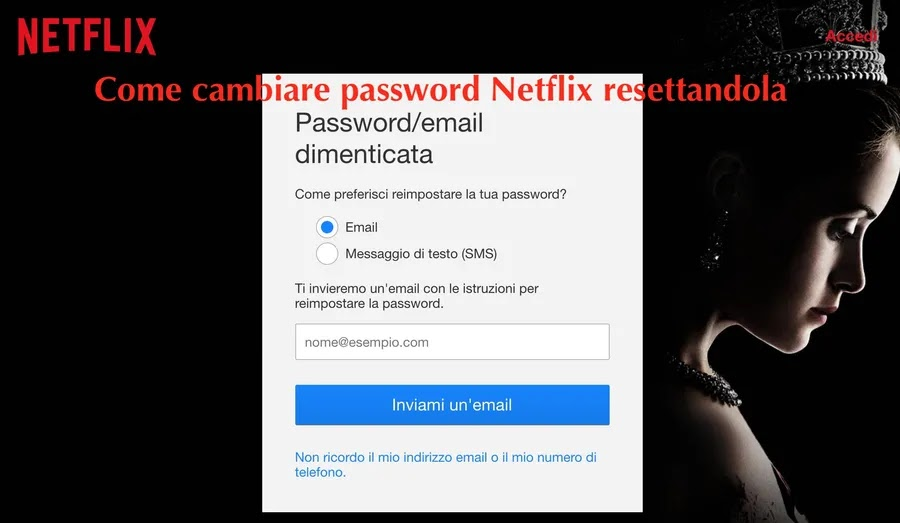 schermata dove inserire email o numero di telefono per modificare la password con procedura di reset_risultato