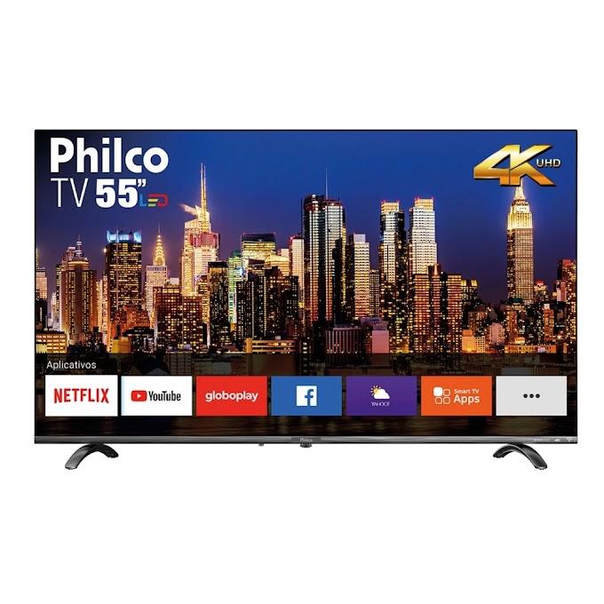 """Smart TV LED 55"""" Philco PTV55Q20SNBL Ultra HD 4k HDR Borda Infinita"""