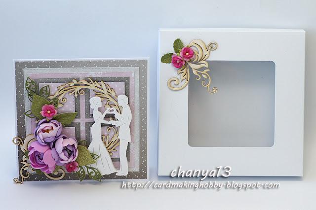 Kartka ślubna w białym pudełku