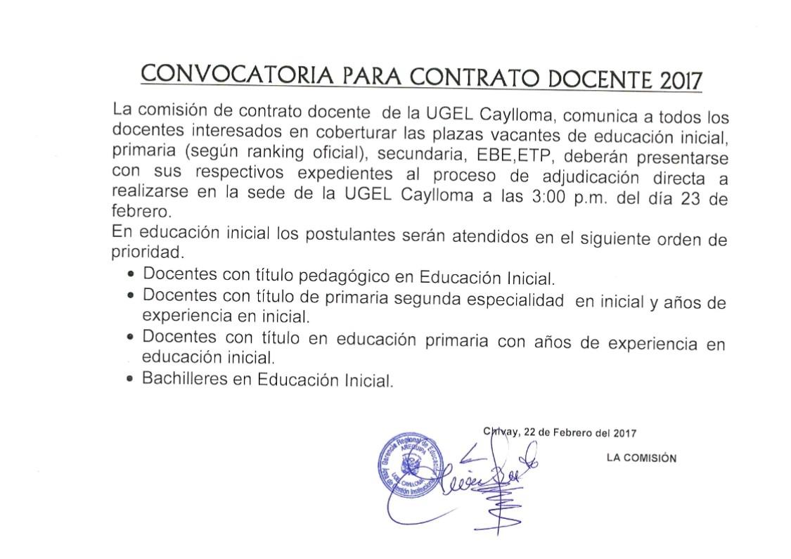 Convocatoria para contrato docente 2017 ugel caylloma for Convocatoria de plazas docentes 2017