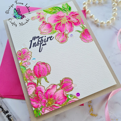 CAS floral card with cherry blossoms, pink flowers card, Crafty Meraki You inspire me, Crafty Meraki flower stamp, Watercolors with gold embossing, Quillish