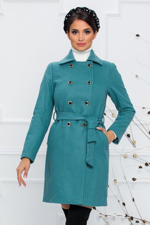 Palton elegant de iarna turcoaz cu nasturi metalici si cordon in talie