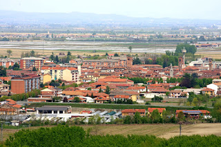 Crescentino, with the rice fields in the distance