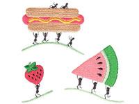 https://www.embroiderydesignsfreedownload.com/2018/04/ants-love-working-on-foods-hotdog-strawberry-watermelon-cuisine.html