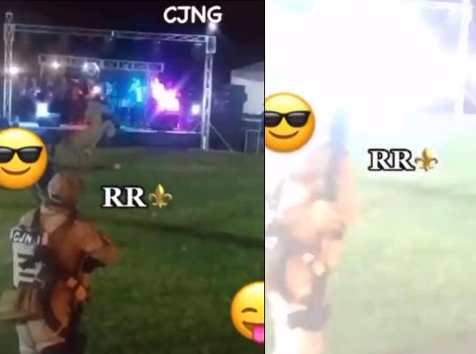 Video: En fiesta de El CJNG Sicarios vestidos con ropa táctica haciendo detonaciones mientras el grupo no deja de tocar el corrido