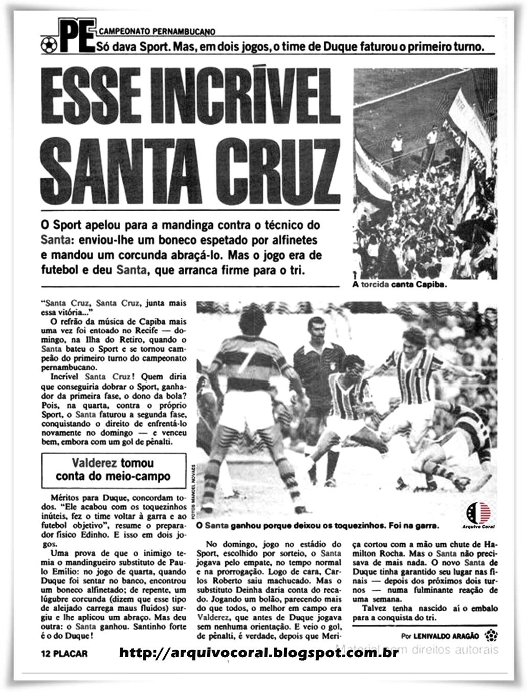 Resultado de imagem para santa cruz 1980