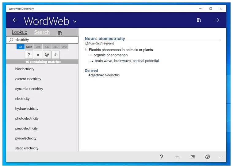 WordWeb Dictionary : Αγγλικό λεξικό, θησαυρός, και ανιχνευτής λέξεων