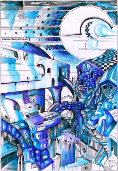 An original surrealistic architecture drawing. Hand-drawn by British artist Spencer J. Derry in 2015. Media: pen and acrylic. Artwork is Not Framed.