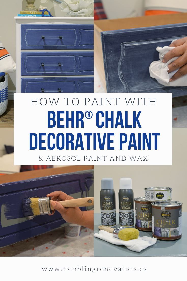 behr chalk decorative paint, chalk paint aerosol, behr wax decorative finish, blue and white coastal dresser