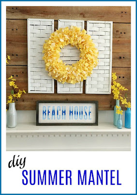 Vintage Paint and more... a summer mantel diy'd with a fabric rag wreath, recyled and painted bottles, and a beach sign done with Chalk Couture transfer, chalk paste and box frame.