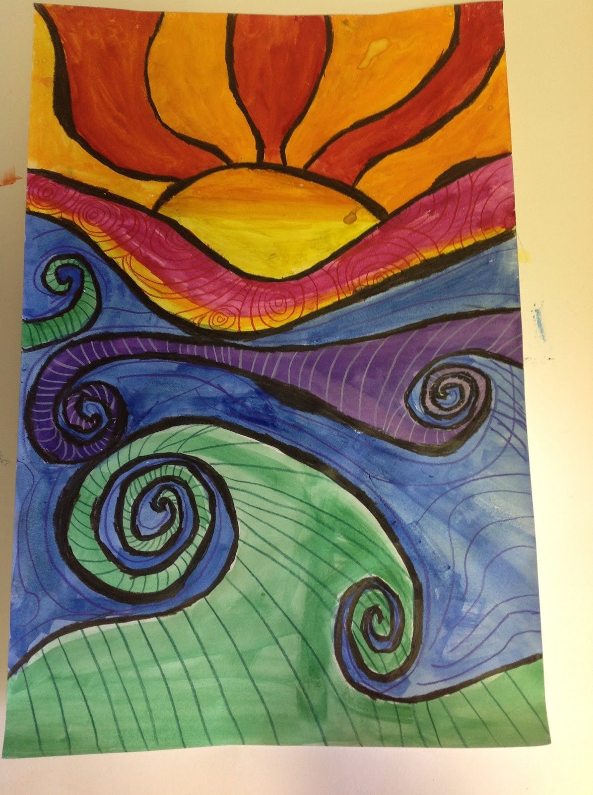 Room Drawing Easy: Color It Like You MEAN It!: 4th Grade Abstract Sunsets