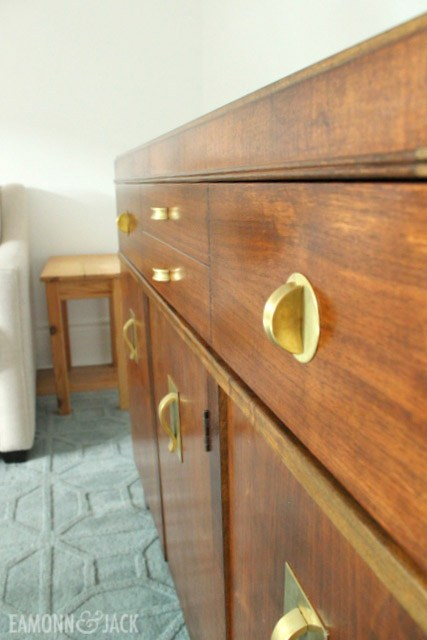 Refinished walnut sideboard with brass handles