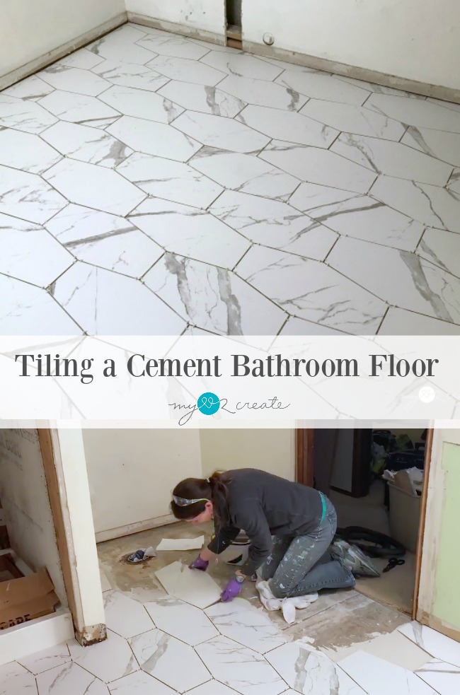 How To Tile A Cement Floor Bathroomlaundry Room One Room