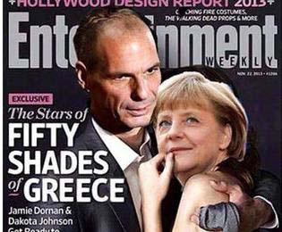 Lustige Liebe - Angela Merkel und Varoufakis halten sich im Arm