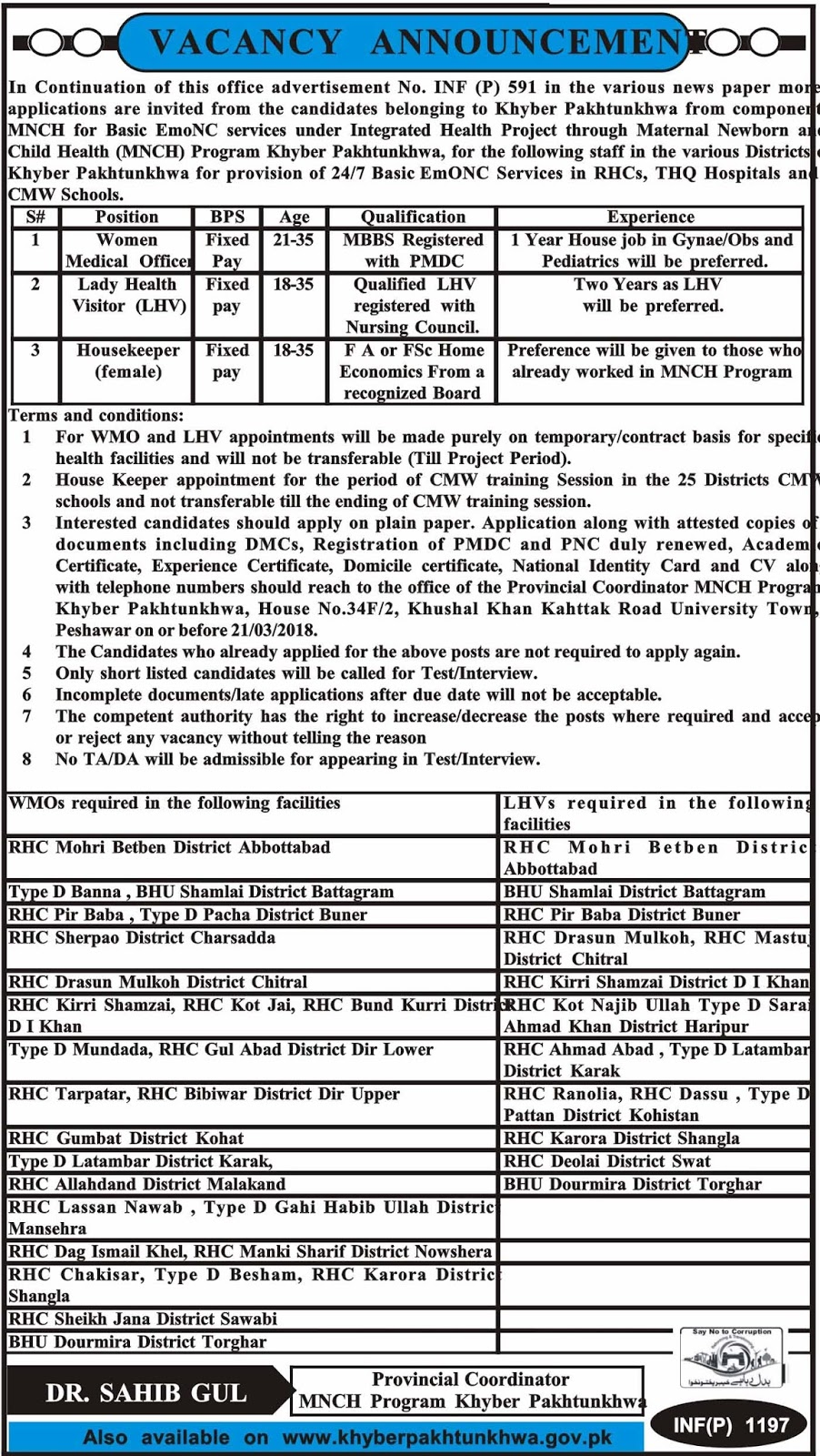 Jobs In Primary And Secondary Healthcare Department 2018 for Lady Health Visitor and others
