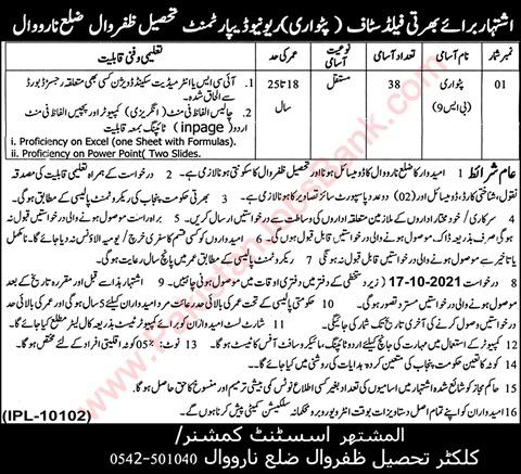 jobs in Field Staff Patwari Revenue Department 2021