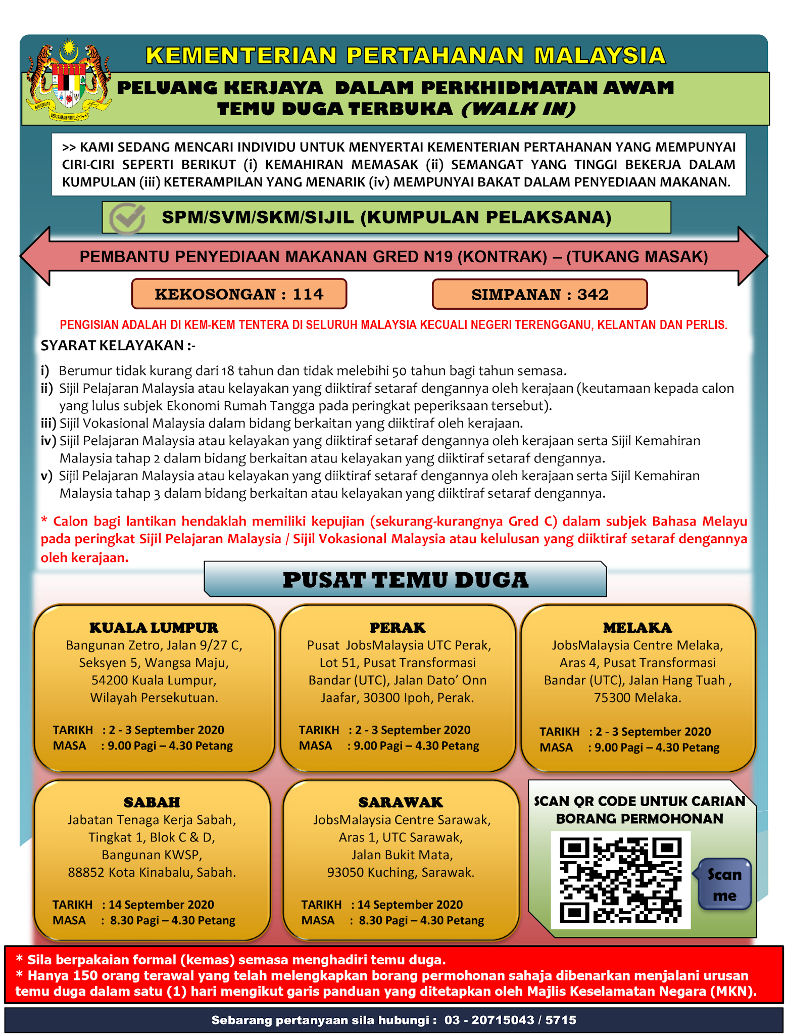 Temuduga terbuka di Kementerian Pertahanan Malaysia (MinDef)